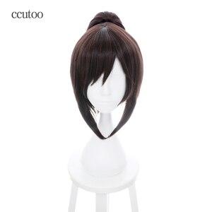 Ccutoo 35 см коричневый атака на Титанов Ханс Hanji Zoe синтетические волосы Косплей Костюм парик Perucas Термостойкое волокно