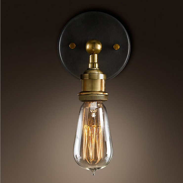ФОТО The wall lamp American country style retro copper wall lamp Edison new classic wall lamp