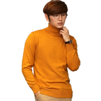 Pure Color Cashmere Turtleneck Men's Sweaters High Collar Male Knitted Cashmere Sweater Loose Pullover Men Turtleneck Sweater turtleneck husky turtleneck