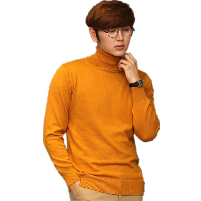 Pure Color Cashmere Turtleneck Mens Sweaters High Collar Male