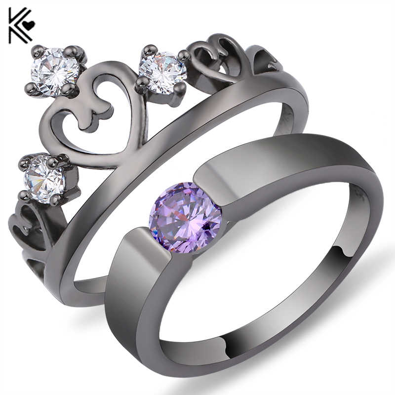 Elegant Peridot Purple Ring Set Black/White Gold Filled Wedding Engagement Rings For Women Top Fashion Jewelry Bridal Sets Anel