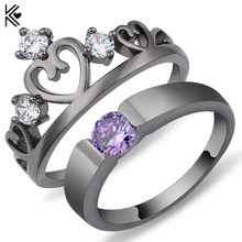 Elegant Peridot Purple Ring Set Black/White Gold Filled Wedding Engagement Rings For Women Top Fashion Jewelry Bridal Sets Anel(China)