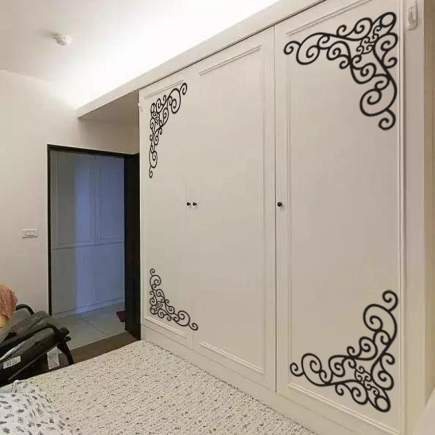4Pcs DIY Wall Decal Decor Window Bath Room Mirror Art Sticker Removable Paper Levert Dropship