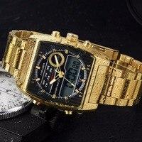 2017 Amuda New Luxury Gold Fashion Sport Men Quartz Watch Golden Waterproof Digital Male Wrist Watch
