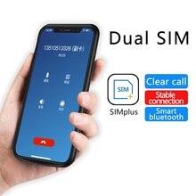 4.7 Inç 5.5 Inç Çift Sim Kart Adaptörü Bluetooth iphone için kılıf 6 7 8 X Ince Çift Bekleme Adaptörü Iki Aktif sim kart tutucu