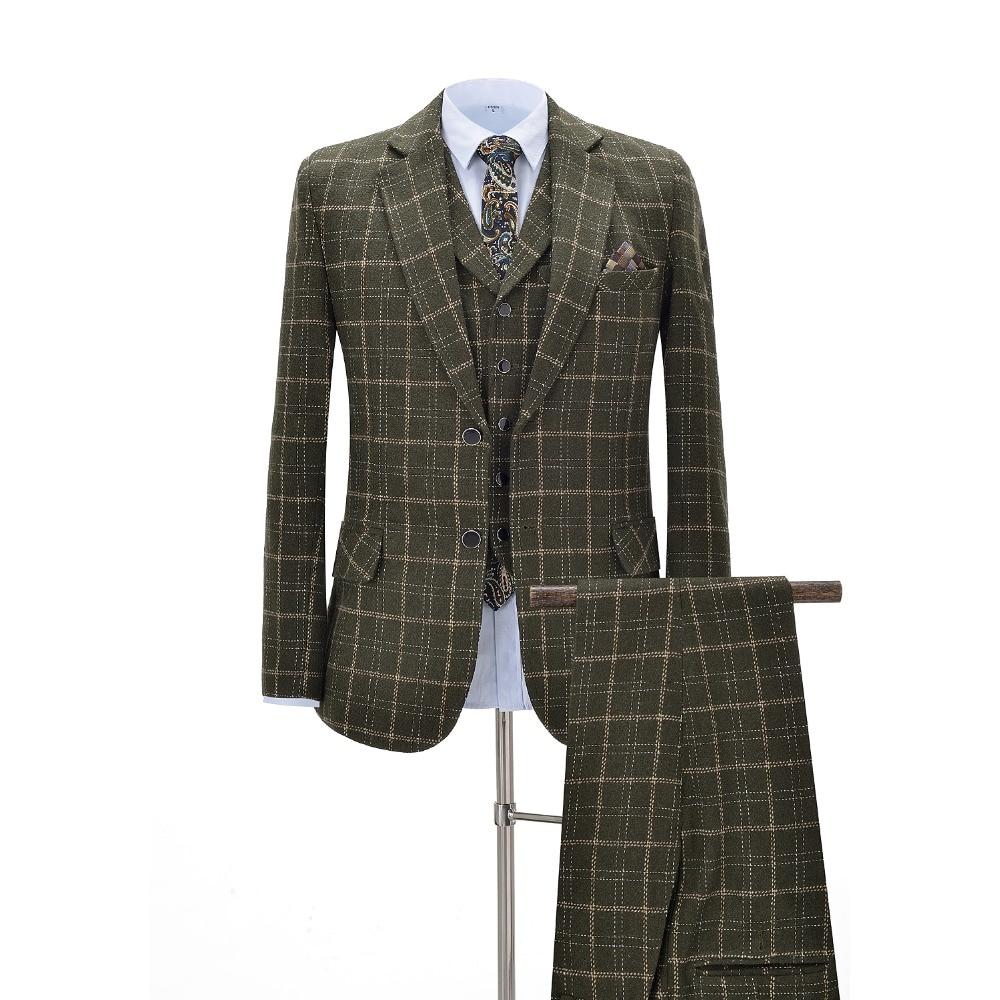 Men Suits 3 Pieces Slim Fit Business Suits Groom Army Green Noble Plaid Wool Tuxedos For Formal Wedding Suit(Blazer+Pants+Vest)