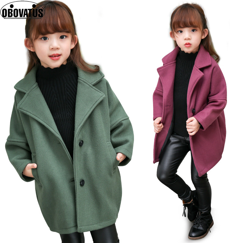 Girls Coats for Kids Single Breasted Outerwear Girls Wool & Blends Infant Jackets 3 4 6 8 10 Years Girls Warm Clothes Child Coat girls single breasted raw hem skirt