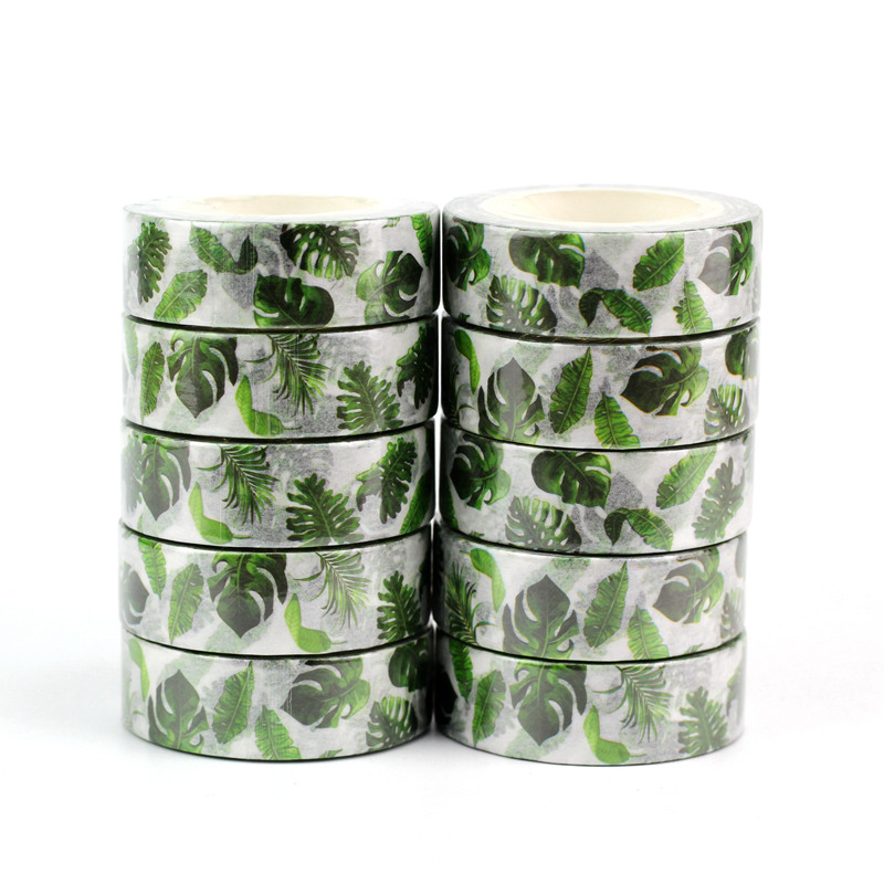 10pcs/lot Decorative Tropical Palm Leaves Washi Tapes Paper DIY Scrapbooking Planner Adhesive Masking Tapes Kawaii Stationery
