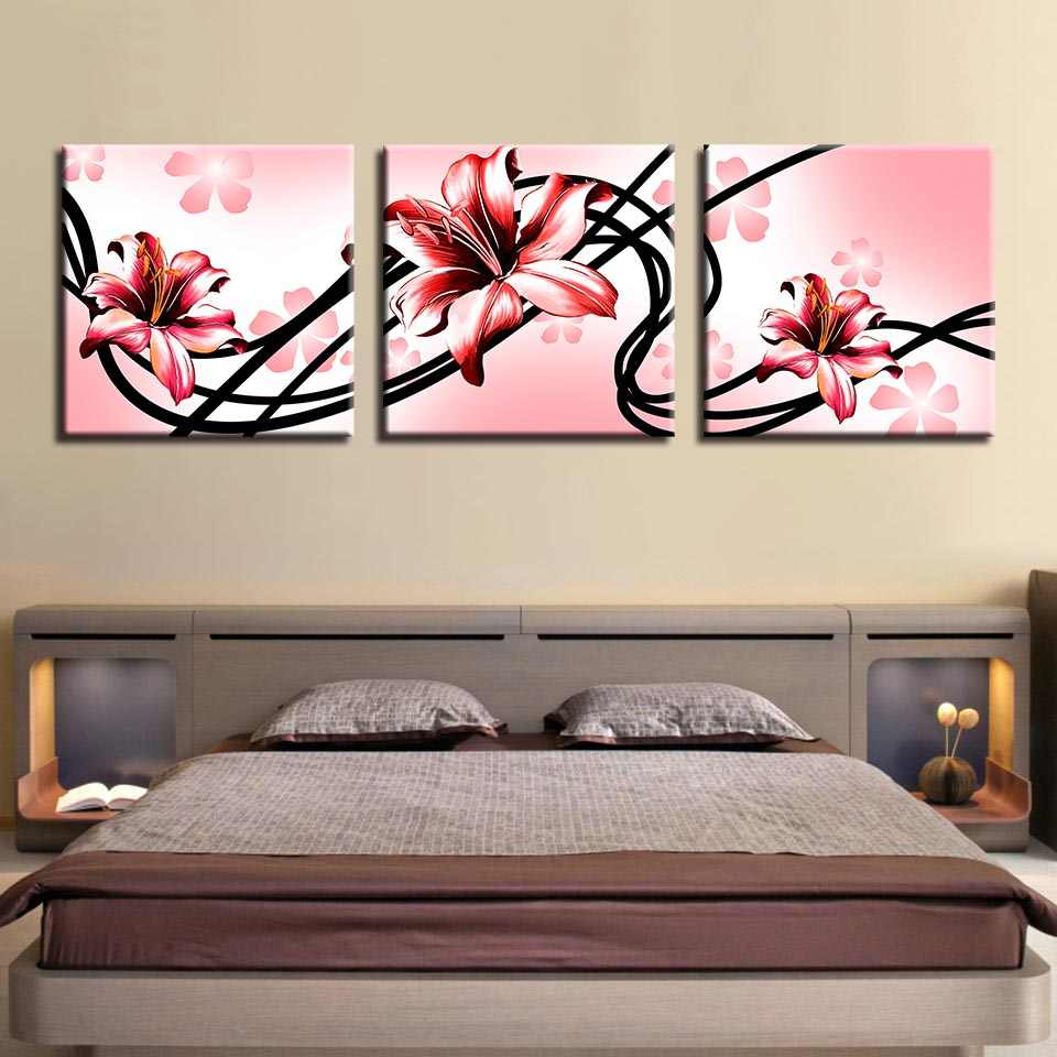 Canvas Prints Pictures Wall Art Poster 3 Pieces HD Pink Lily Background Painting Modern Home Modular House Decoration Framed