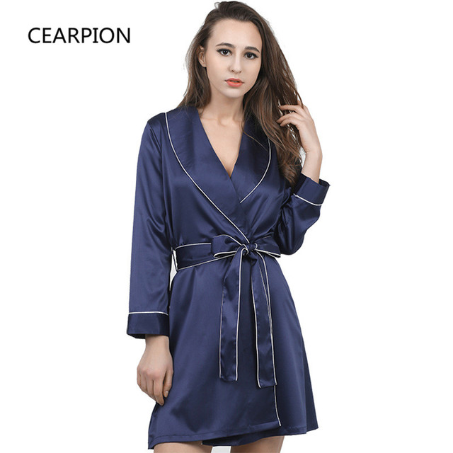 CEARPION Hot Sale Robe Women Rayon Kimono Bathrobe Gown Turn Down Collor Home  Clothes Intimate Lingerie Casual Negligee M L XL 4479cfcaf