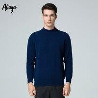 2018 зимние теплые Knittted свитер Для мужчин бренд 100% чистого кашемировый свитер джемпер с высоким воротом плюс Размеры с длинным рукавом Трикот
