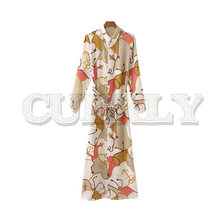 CUERLY women chain print maxi dress bow tie sashes long sleeve female ankle length stylish casual long dresses 2019 stylish cami tropical print women s maxi dress