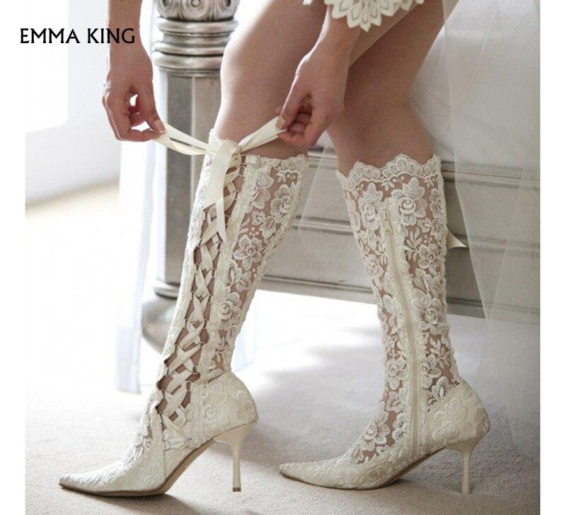 boda zapatos dedo novia botas de fiesta puntiagudo picture lado pie