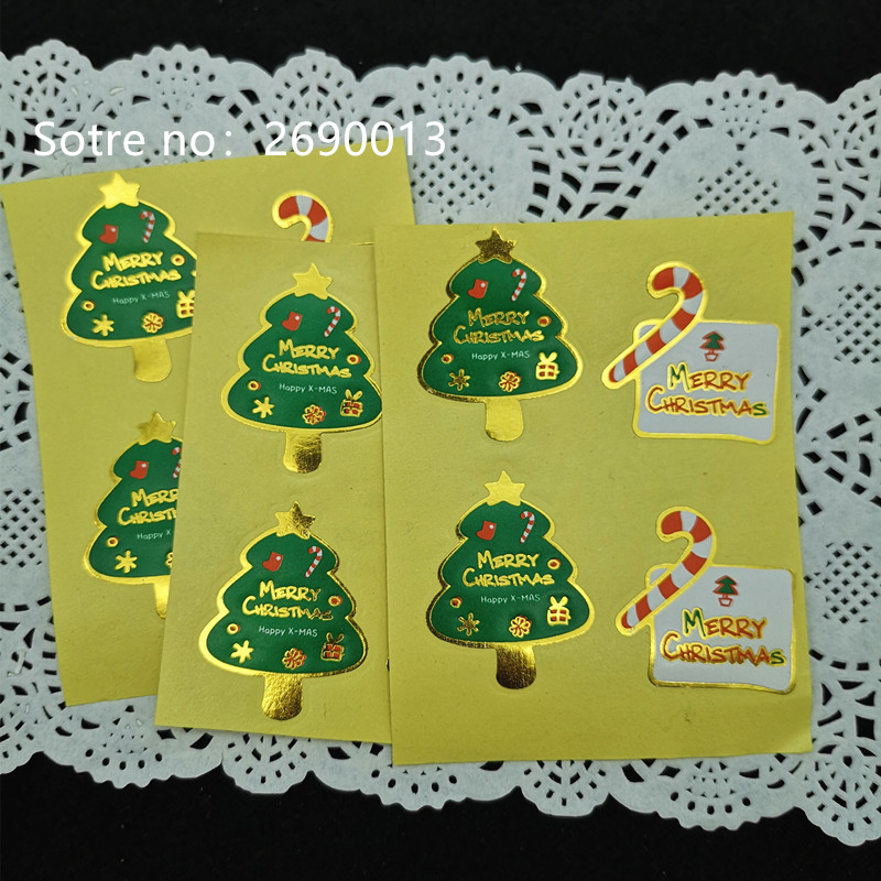 100pcs Merry Christmas Paper Sealing Stickers DIY Gifts Labels Candy Bag Tags  X