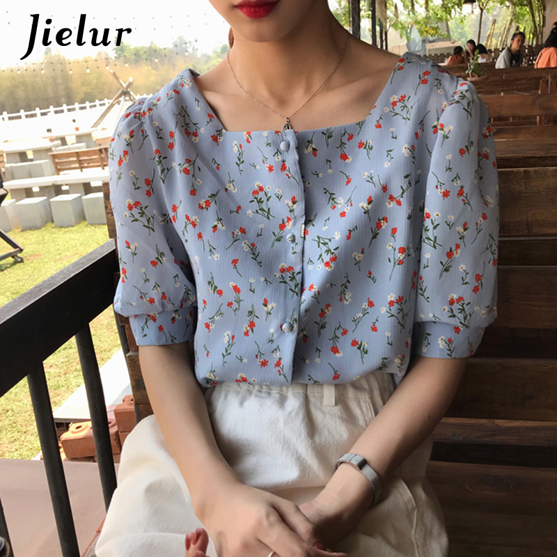 Jielur   Shirts   Women Korean Style Loose Floral Print Square Collar Short Sleeve   Shirt   Summer Casual Vintage   Blouse   Camiseta Femme