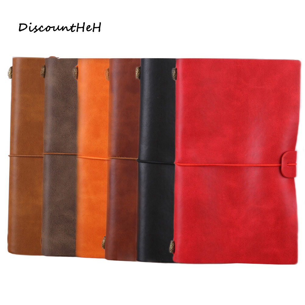 6 Colors Retro Leather Bound Notebook Travel Journal Handmade Memory Vintage Style Notepad School Office Stationery Supplies sosw fashion anime theme death note cosplay notebook new school large writing journal 20 5cm 14 5cm