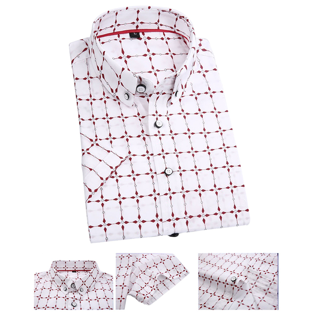 Size M-3XL Summer Breathable Cotton 100% Men' s Business Formal Casual Shirts Short Sleeve Red Plaid Print Dress Shirt Slim
