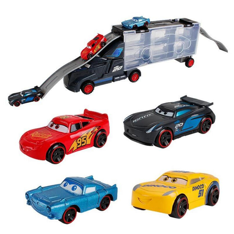 Hot Sale Pixar Cars 3 Metal Truck <font><b>Hauler</b></font> with 6 Small Cars Diecast Metal Alloy Model Toys Birthday Gift Toy For Boy Kids image
