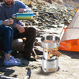 Image 5 - Lixada Draagbare Vouwen Hout Kachel Outdoor Lichtgewicht Rvs Picknick Camping Koken Hout Camping Kachel
