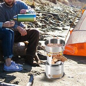 Image 5 - Lixada נייד מתקפל עץ תנור חיצוני קל משקל נירוסטה פיקניק קמפינג בישול עץ קמפינג תנור
