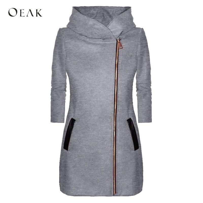 OEAK Autumn Winter   Basic     Jacket   Women Coat 2018 Casual Long Sleeve Zipper Sweatshirt Coat Female Fashion Warm Outwear Coat