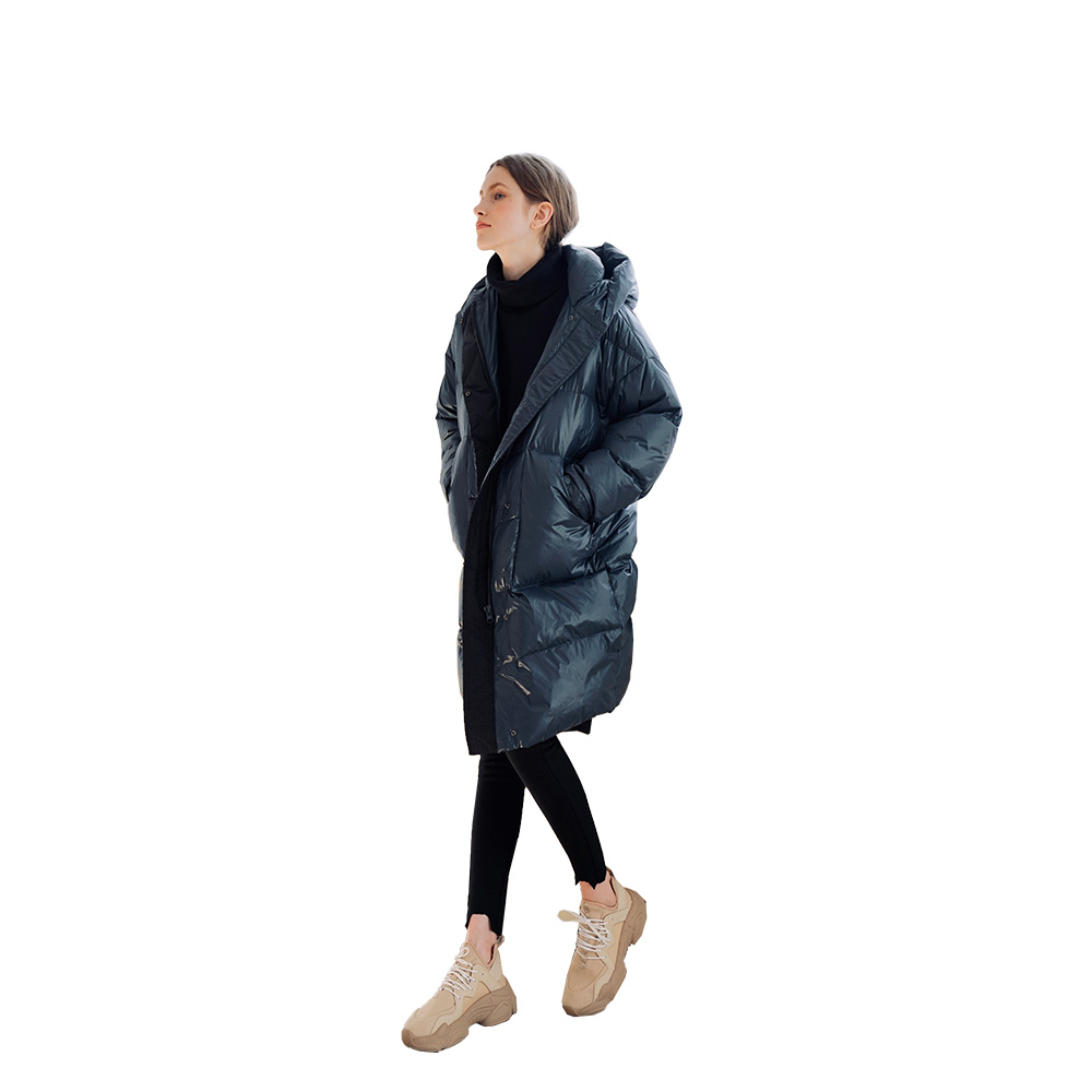 That's for me! Hooded long 90 female white duck   down     coats   to keep warm in the loose show thin, 384022