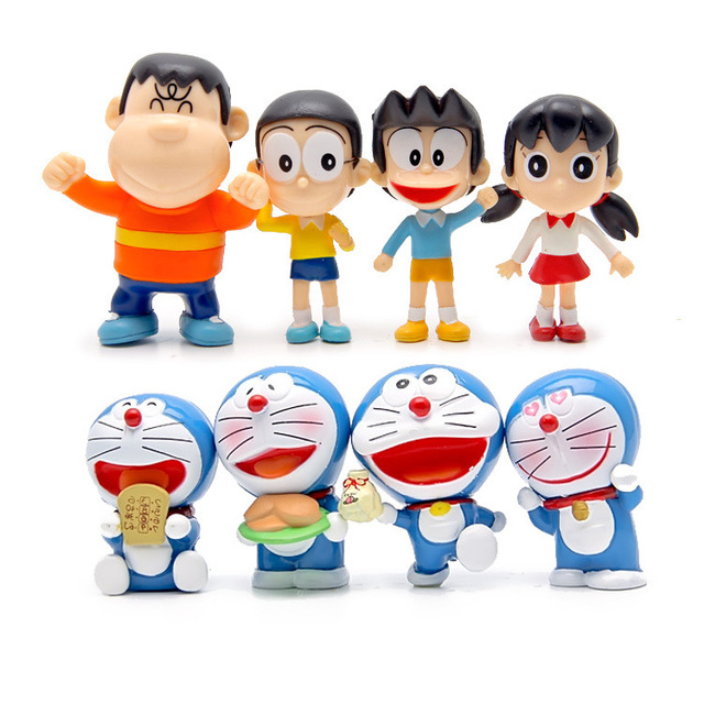 8 Pcsset Anime Kartun Lucu Doraemon Nobi Nobita Pvc Action Figure 7