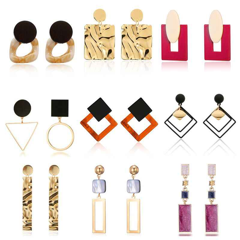 HOT 30 Style Korea Handmade Wooden Drop Earrings New Fashion Geometric Long Acrylic Metal Earrings modern Jewelry