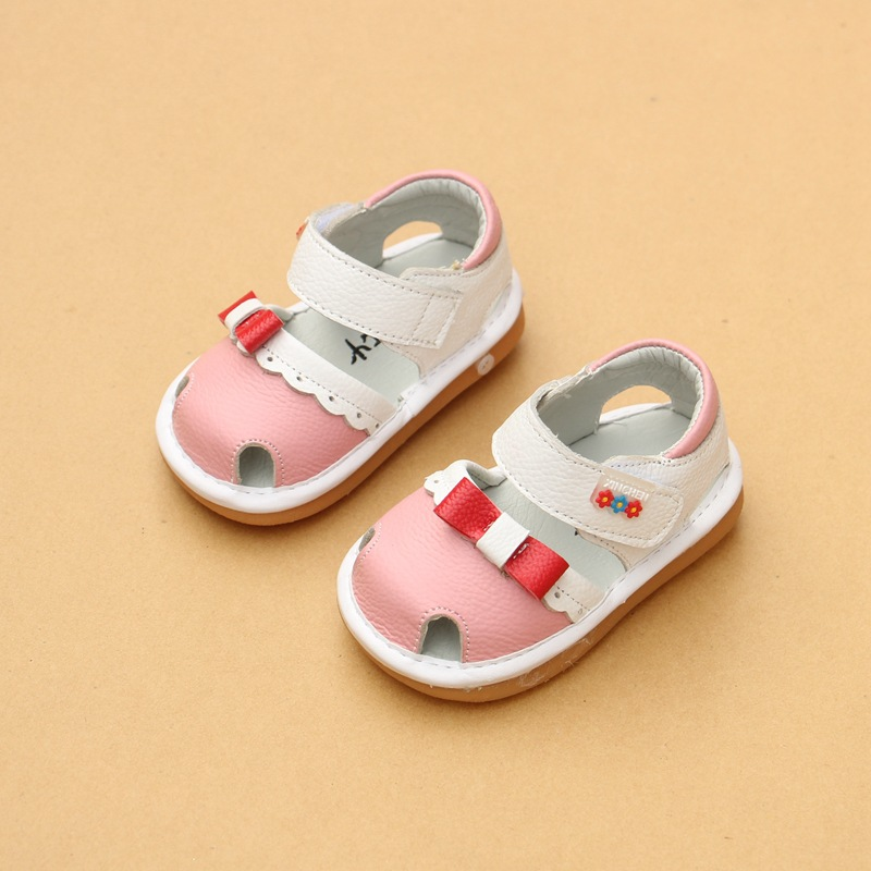 2018 Infant Baby Girls Summer Shoes Cute Bow Baby Toddler Shoes Female Genuine Leather First Walkers EU 15-19