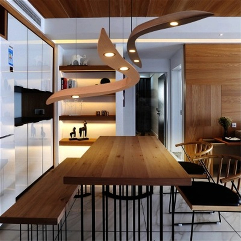 Nordic solid wooden designer LED chandelier modern restaurant bar counter coffee shop clothing store long lamp free shipping nordic modern solid wood chandelier coffee shop clothing shop restaurant bar creative personality single chandelier