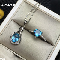KJJEAXCMY Fine jewelry Natural Topaz Women's Ring Necklace Set Inlay with 925 sterling silver supports any re-inspection