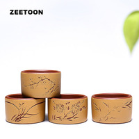 4PCS/Lot 50cc Authentic Yixing Teacup Purple Clay Master Cups Zisha Tea Bowl Cup Double Color Plum Orchid Bamboo Chrysanthemum