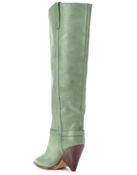 Picture Tacones De Botas Cuero Puntiagudo Verde Mujer open Luz Alta Envío As 2019 Nuevo Pie Dama V Forma Dedo Rodilla La Gota Primavera Del Oagxndqg7