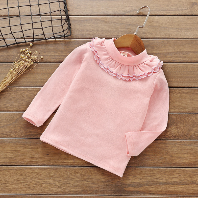 Kids Pink White Shirts For Long Sleeve Solid Girls Blouses For 2-7Y classic original white gothic lolita shirts 18th century long flare sleeve cotton lace lolita tops blouses for 2018