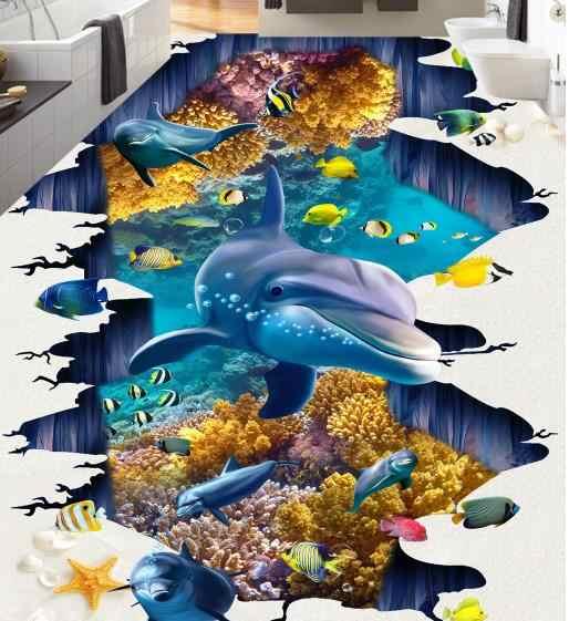 3D Flooring Customize The underwater world 3D Mural Wallpaper Vinyl Flooring adhesives 3D Photo Wallpaper