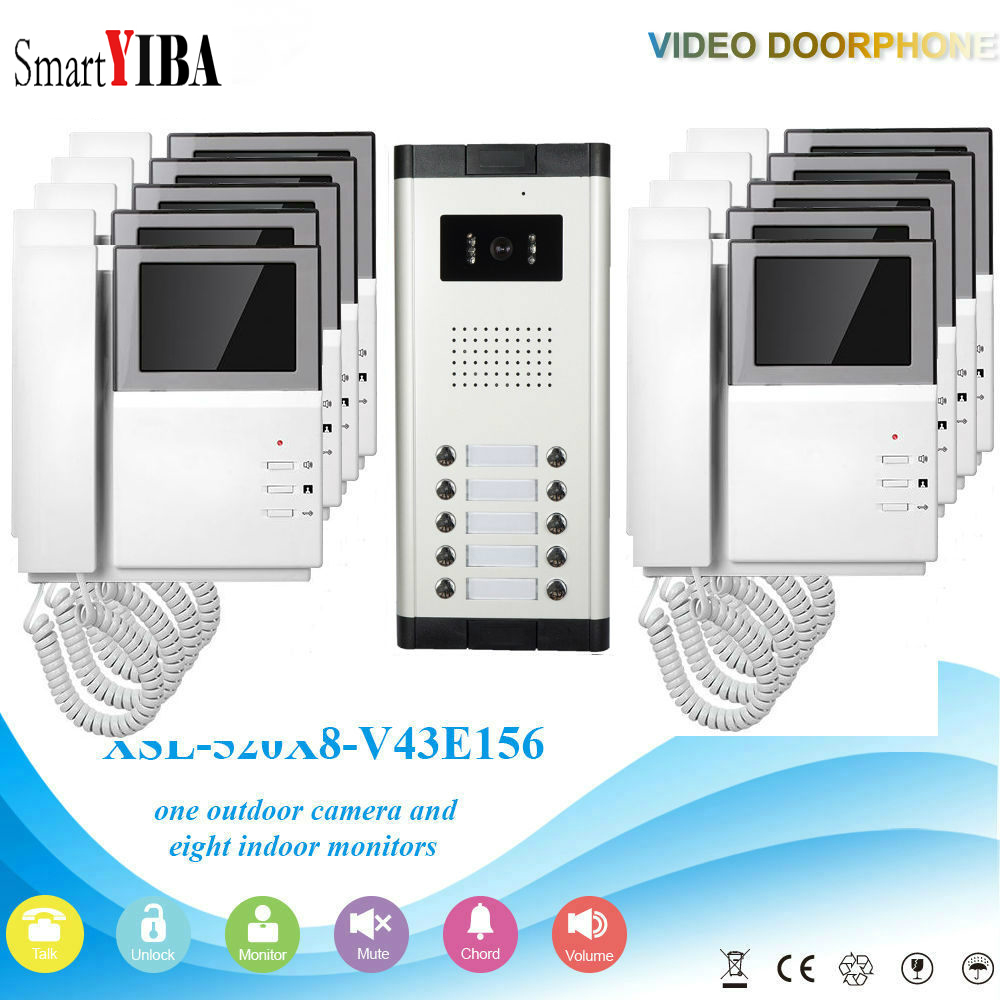 SmartYIBA Apartment Video Intercom 4.3 Inch Video Door Phone Doorbell Video Entry Intercom KIT Night Vision 1 Camera 10 Monitor