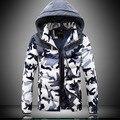 Camo Parka Para Homens XXXXL 2016 Moda Inverno Patchwork Com Capuz homem Engrossar Homem casacos Plus Size M-4XL Slim Fit Hombre jaquetas