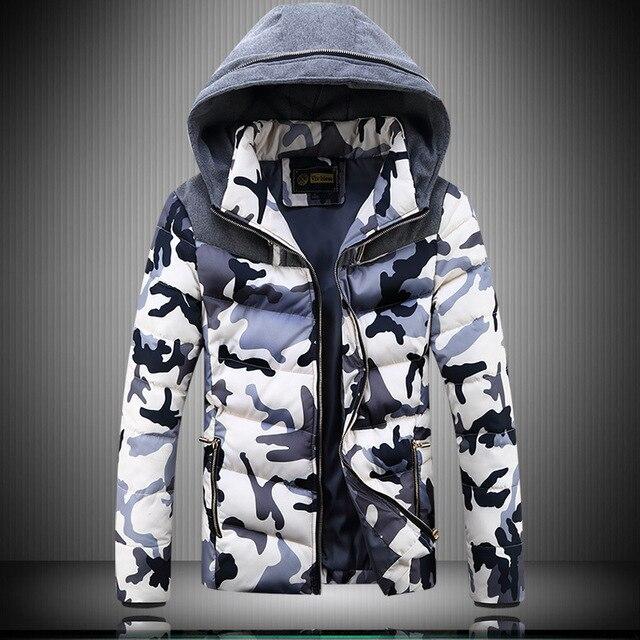 Camo Parka Para Los Hombres XXXXL 2016 Invierno Remiendo de La Manera Con Capucha hombre Espesar Hombre abrigos Más El Tamaño M-4XL Slim Fit Hombre chaquetas