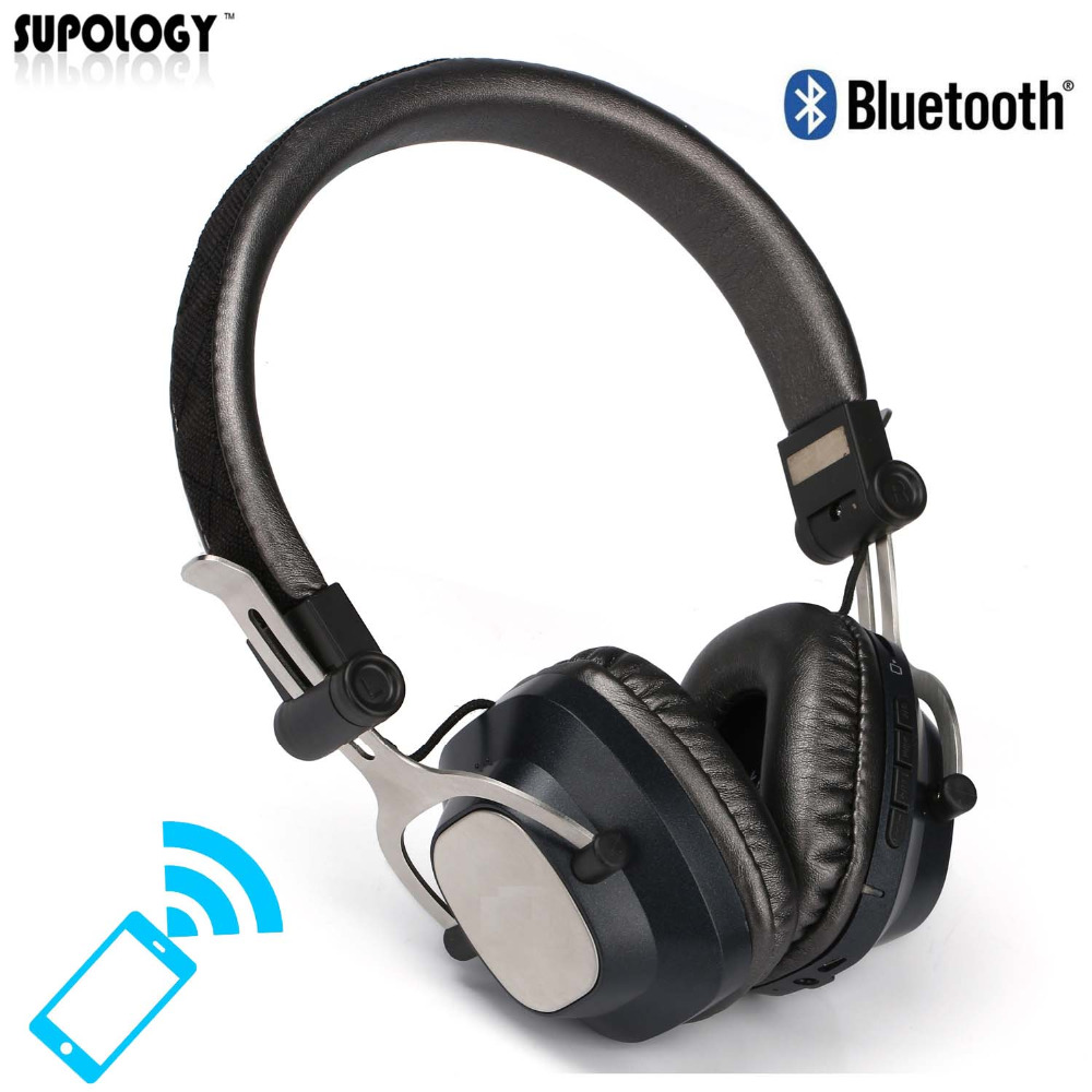 SUPOLOGY Super Bass Headphone Foldable Cordless Headphones with Mic Stereo Bluetooth Wireless Headset for iPhone Samsung Xiaomi high quality csr8635 chipset stereo headphone with mic speaker headset foldable bluetooth 4 1 headphones