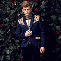 Free shipping 2015 new autumn casual personality blazer men's male coat printing jacket man fashion plussize suit FanZhuan 14038