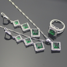 Wonderful Plant Inexperienced Emerald Jewellery Units For Ladies 925 Sterling Silver Earrings/Rings/Pendant/Necklace Free Present Field
