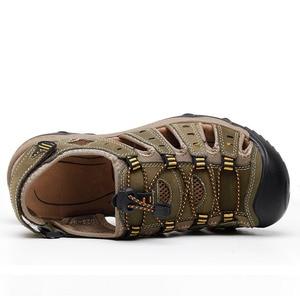 Image 3 - ROXDIA חדש אופנה קיץ חוף לנשימה גברים סנדלי עור אמיתי גברים של סנדל איש סיבתי נעליים בתוספת גודל 39 48 RXM007
