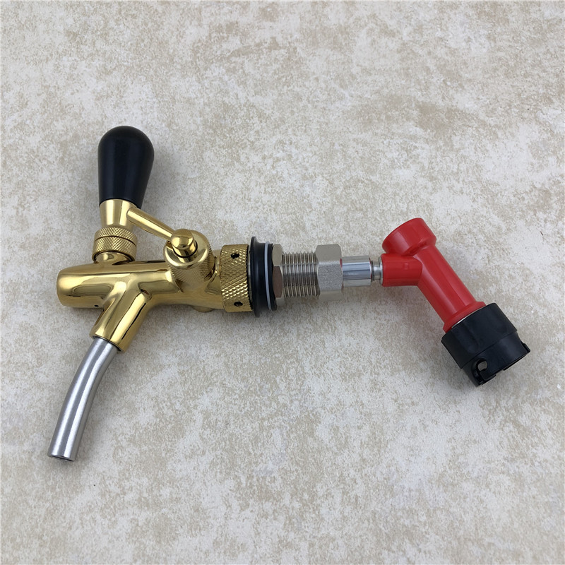 Homebrew Kegging Kit Copper plating Adjustable Beer Tap Faucet with Quick Adapter and Liquid Pin Lock