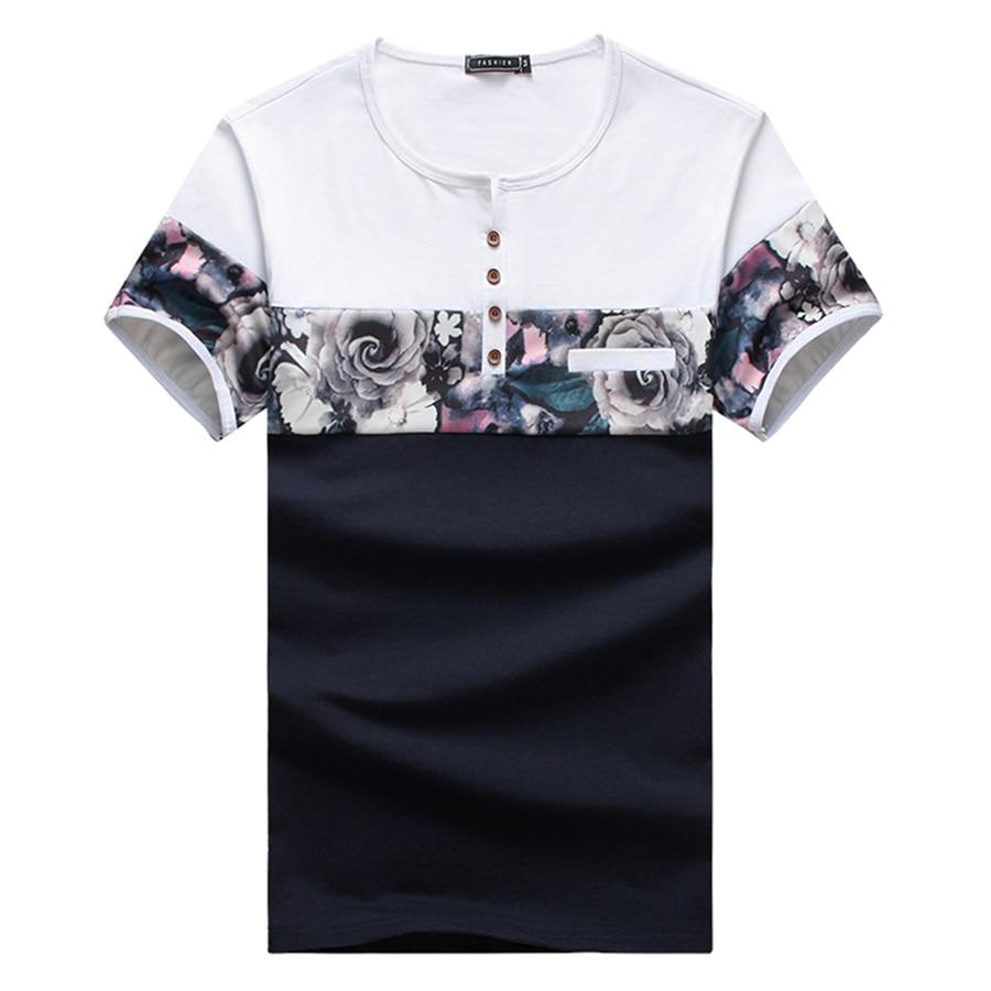 New Design Fashion Men's T Shirts 2017 Summer Flower