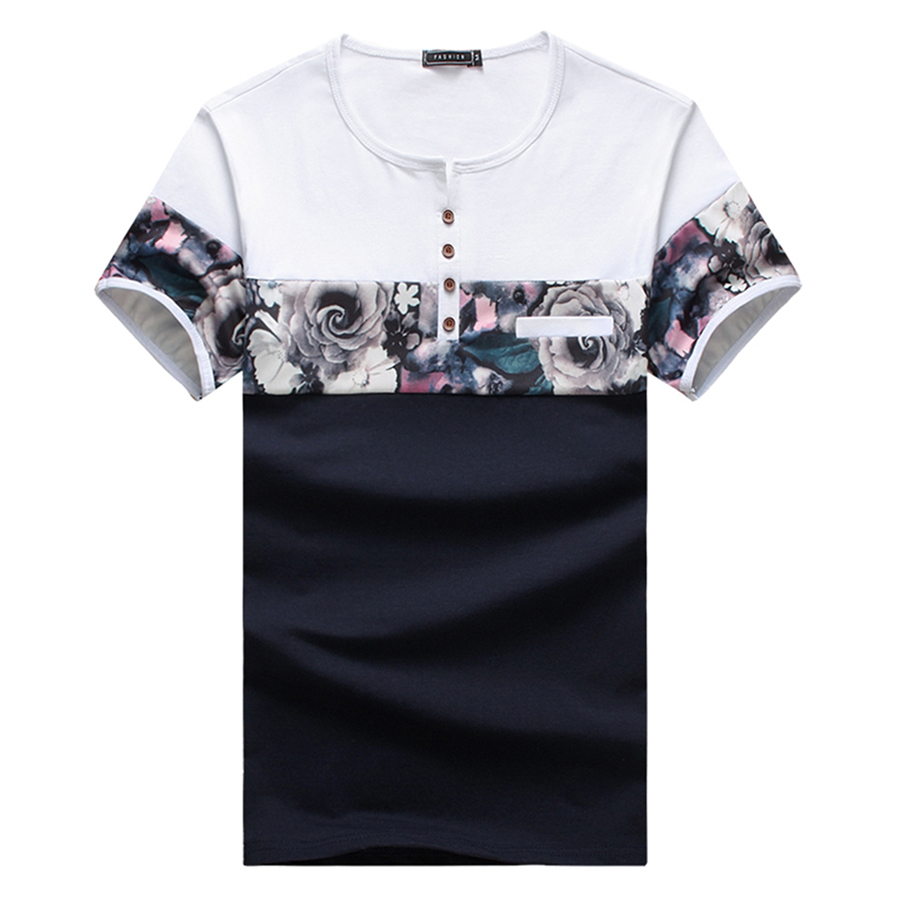 New Design Fashion Men's T Shirts 2017 Summer Flower Patchwork Short Sleeve T Shirt Mens Clothes Trend Casual O Neck Top Tees