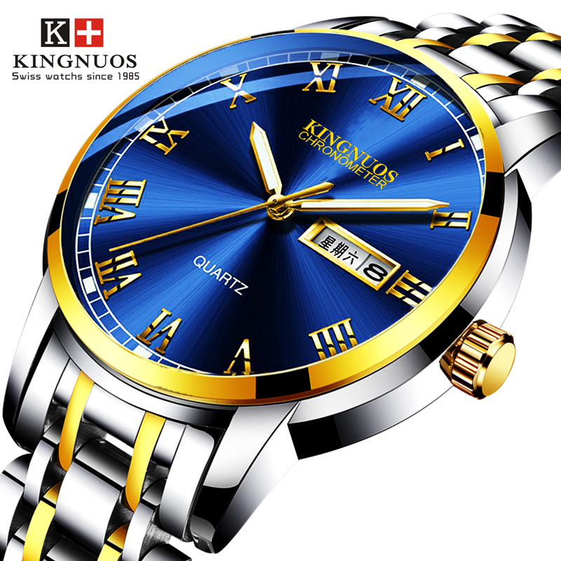 Men Sports Waterproof Date Analogue Stainless Steel Luxury Wrist Watches Chronograph Business Quartz Watches Relogio Masculino