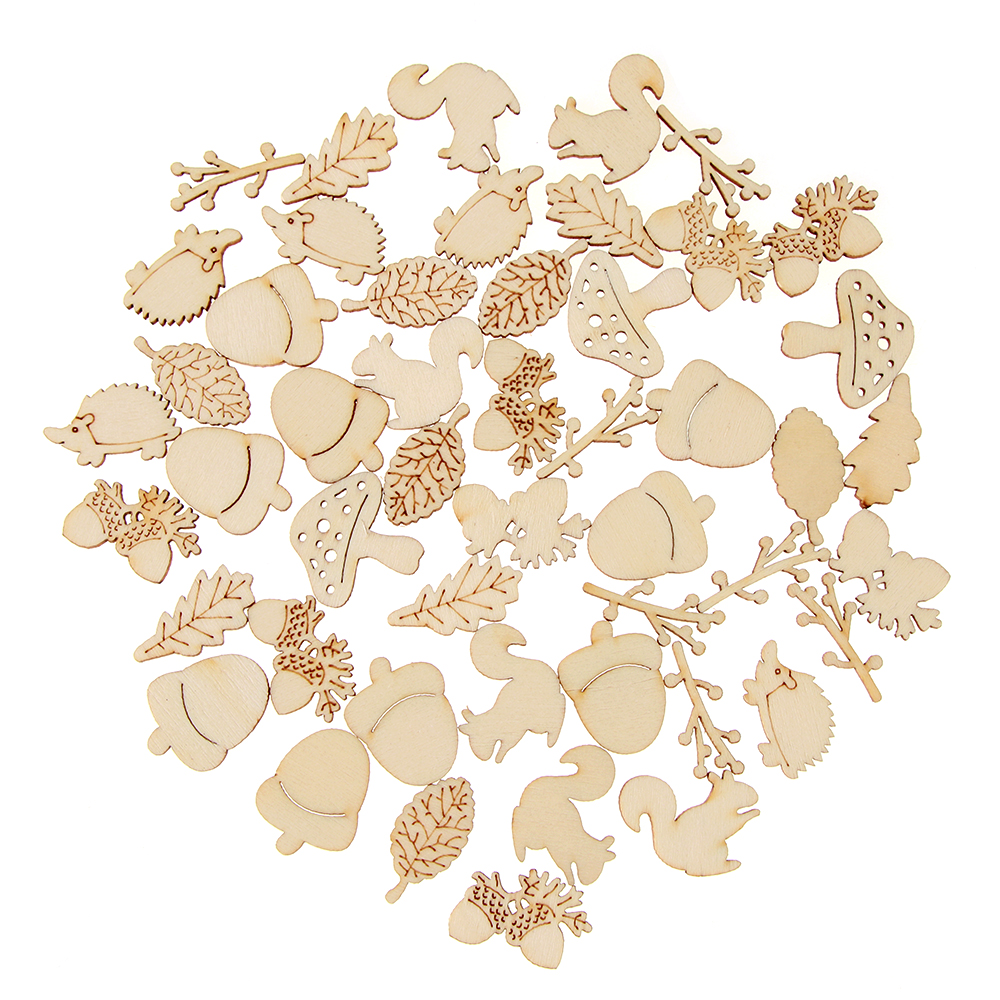50Pcs/Set Mixed Wooden Craft Squirrel Leaves Mushroom Shape Scrapbooking Hedgehog Decoration Embellishments
