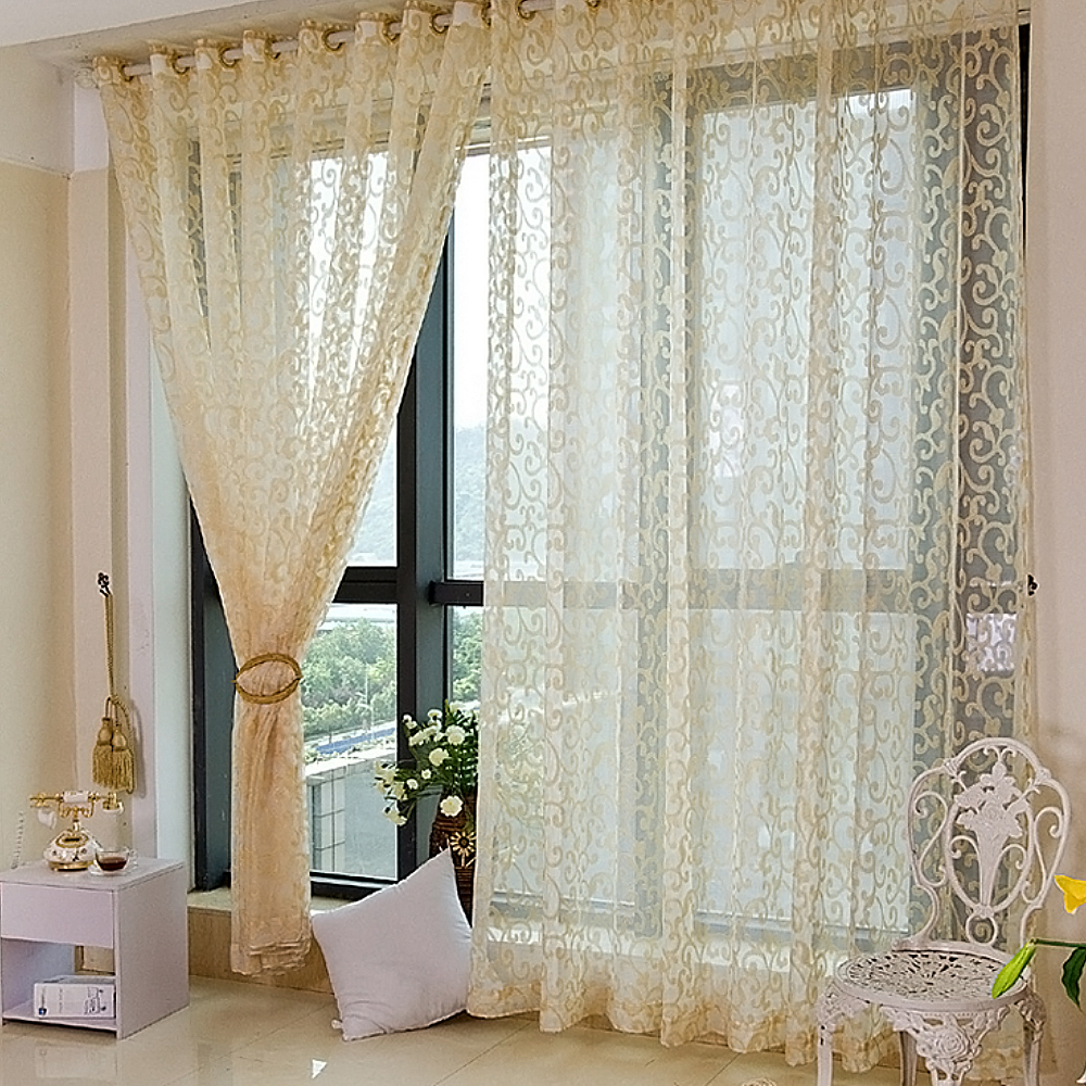 Sheer curtains with patterns - Sheer Curtains Floral Pattern Flocking Tulle Valance Room Door Window Curtain Cortina For Living Room Rideaux