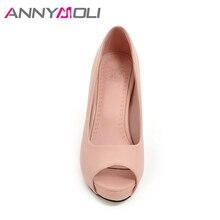 ANNYMOLI Women Pumps High Heels Platform Autumn Open Toe Women Office Shoes Elegant Ladies Pumps Plus Size 33-43 Spike Heel Shoe