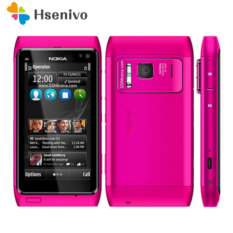 N8 100% Original Unlokced Nokia N8 téléphone Mobile 3G WIFI GPS 12MP écran tactile 3.5